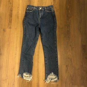 High waist, raw hem jeans